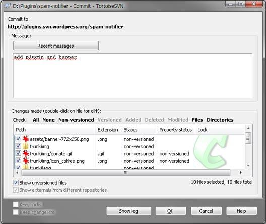Выбор файлов для Commit